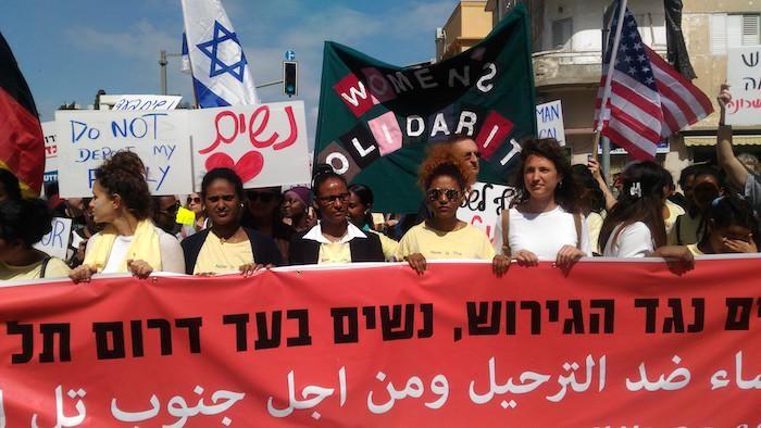 Tête de la manifestation du 9 mars à Tel Aviv en faveur des réfugiés africains. Album photos ©Guarrera/CTS