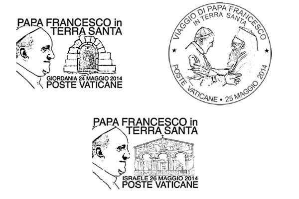 Les trois oblitérations des Postes du Vatican.