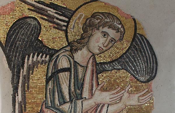 Détail du septième ange redécouvert dans la basilique de la Nativité à Bethléem. (photo Piacenti Spa)