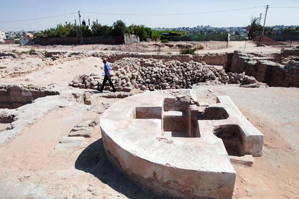 Vue sur le baptistère du monastère Saint Hilarion à Nusseirat©Wissam Nassar/Flash90