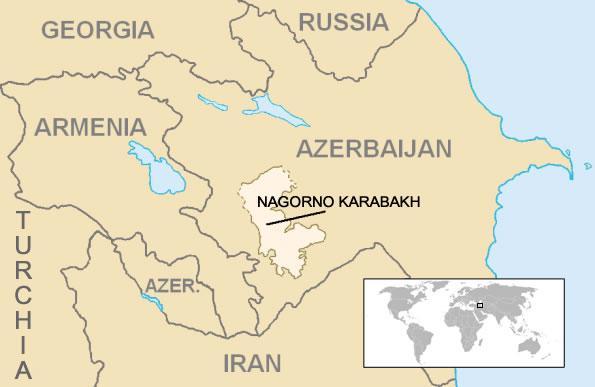 La position géographique du Haut-Karabakh.