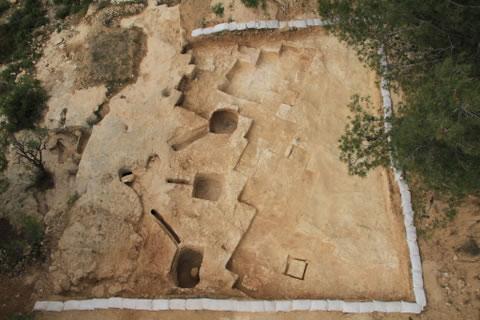 Vue aérienne d'un bain rituel rare découvert à Jérusalem ce mois-ci. (Photo: © AAI) [1/3]