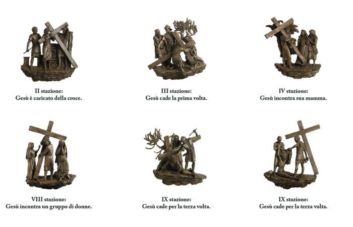 Stations du chemin de croix sculpté par Alessandro Mutto et réalisé par la Fonderia Artistica BMN Arte©Courtesy of Bmn Arte