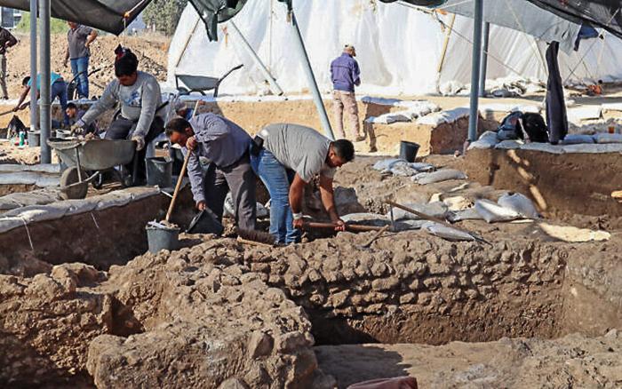 Les travaux sur le site de fouilles d'Ashkelon. ©Asaf Peretz, Autorité des Antiquités d'Israël