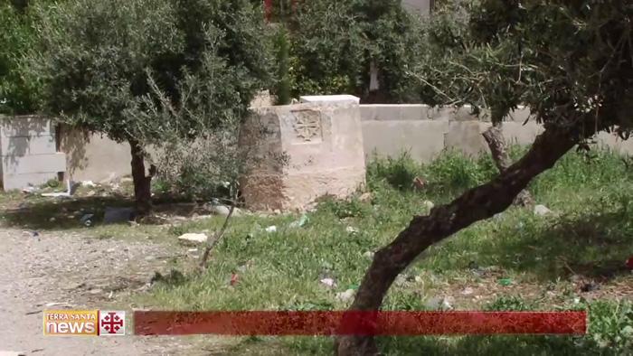 Le baptistère dans un jardin du village palestinien de Tuqu'. Le maire M. Abu Mufarreh en avait alors relaté l'histoire en 2015 devant les caméras du Christian Media Center ©Christian Media Center