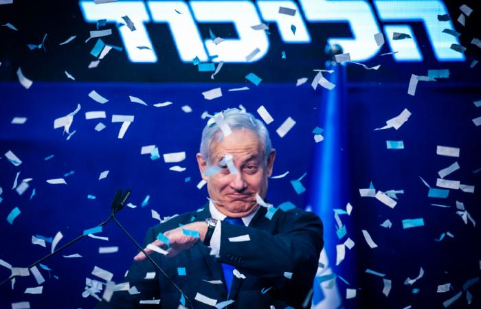 Le premier ministre Benyamin Netanyahu le soir des élections législatives. 3 mars 2020. Olivier Fitoussi/Flash90