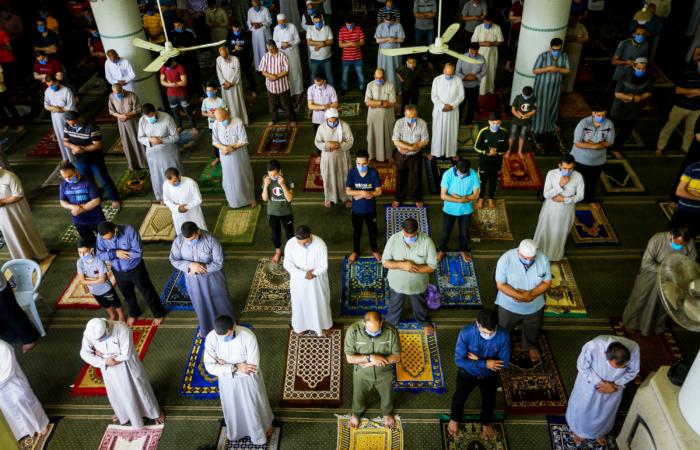 Dernier vendredi de prière pour les Palestiniens célbrant le Ramadan. Mosquée al-Abrar à Rafah, dans la bande de Gaza. 22 mai 2020. Abed Rahim Khatib/Flash90