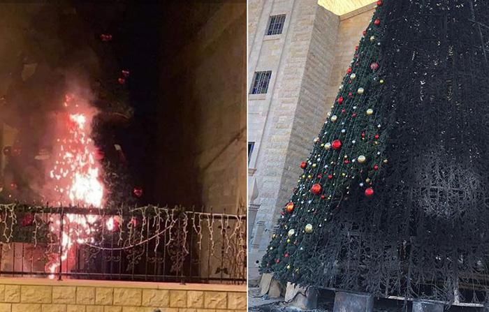 Des sapins de Noël brûlés dans une ville arabe israélienne