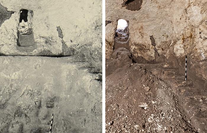 La citerne telle qu'elle a été découverte par Baramki en 1934, et en 2020 . Photos : Dimitri Baramki, Israel Antiquities Authority British Mandate Archives, et Assaf Peretz, Israel Antiquities Authority.