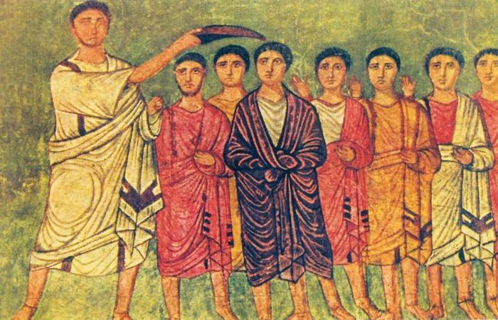 David oint roi par Samuel, vêtu de violet (Synagogue Dura Europos, Syrie, 3e s. avant. JC.