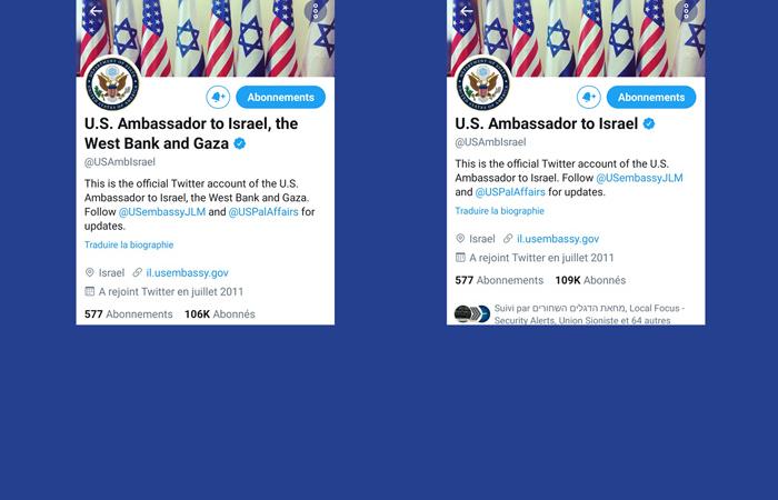 Quand le Twitter de l'ambassade US reconnaît brièvement Gaza et la Cisjordanie