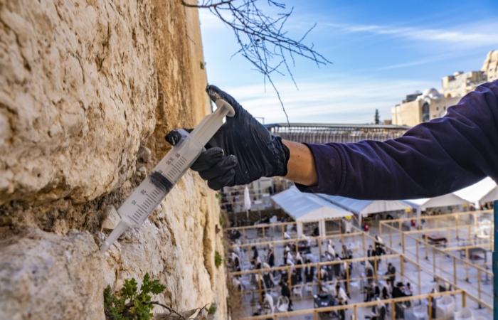 """Injection du ciment """"micro-chaux"""" dans une fissure. Photo : Yaniv Berman, Israel Antiquities Authority"""