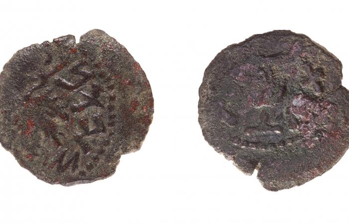 Pièce datant d'environ 67-68 ap. J.-C. datant de la première guerre judéo-romaine en Judée, trouvée à KhirbatJib'it ©Tal Rogovsky
