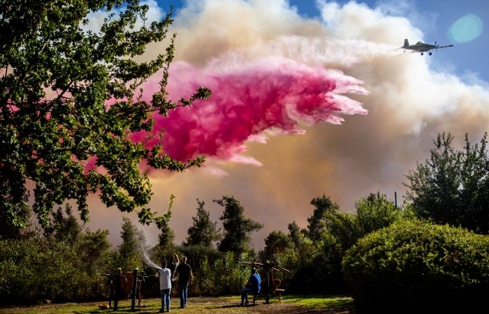 Des pompiers et des citoyens israéliens tentent d'éteindre l'incendie près de Beit Meir, à l'extérieur de Jérusalem, le 15 août 2021 ©Yonatan Sindel/Flash90